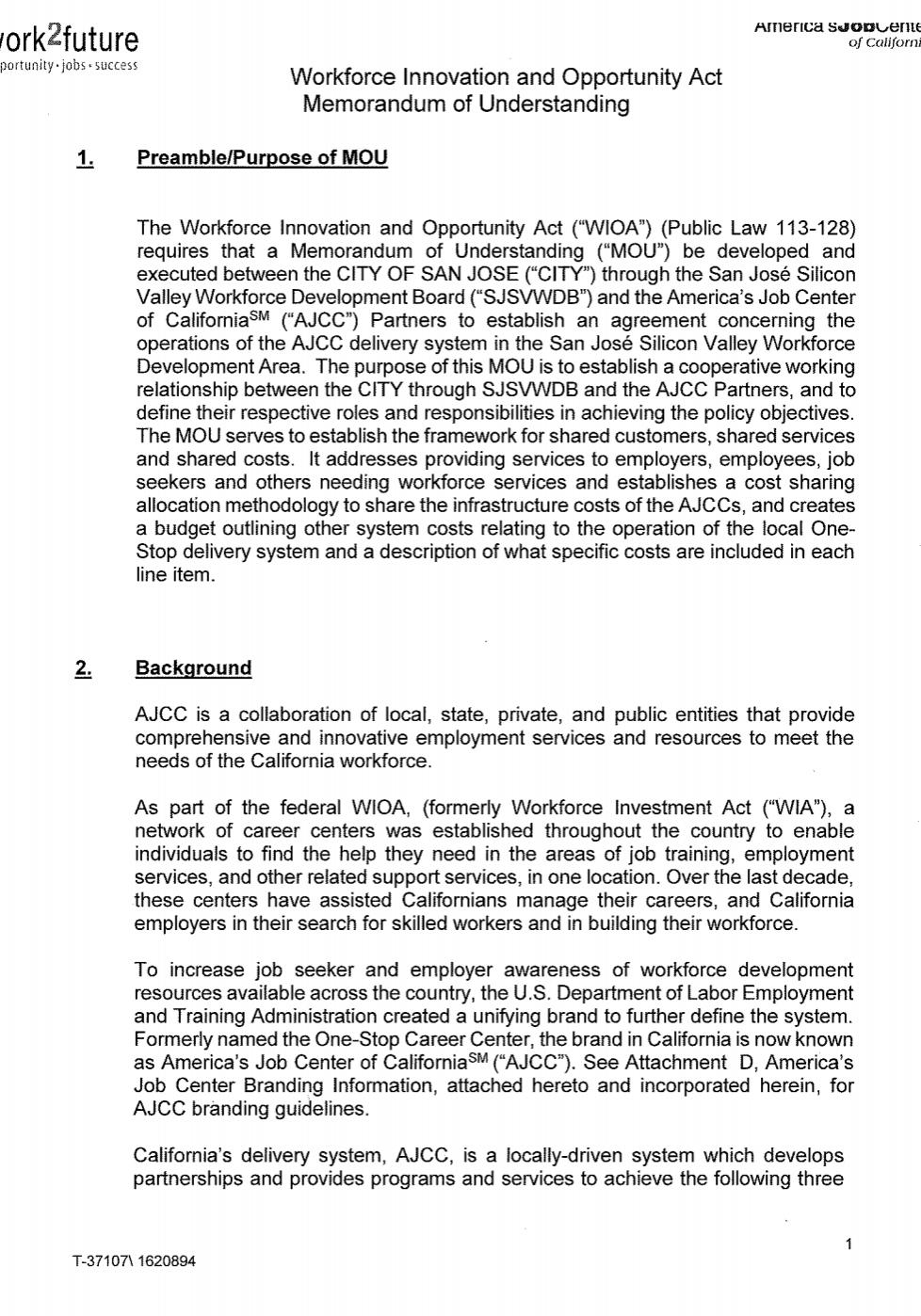 Memorandum of Understanding | California Employment Development Department