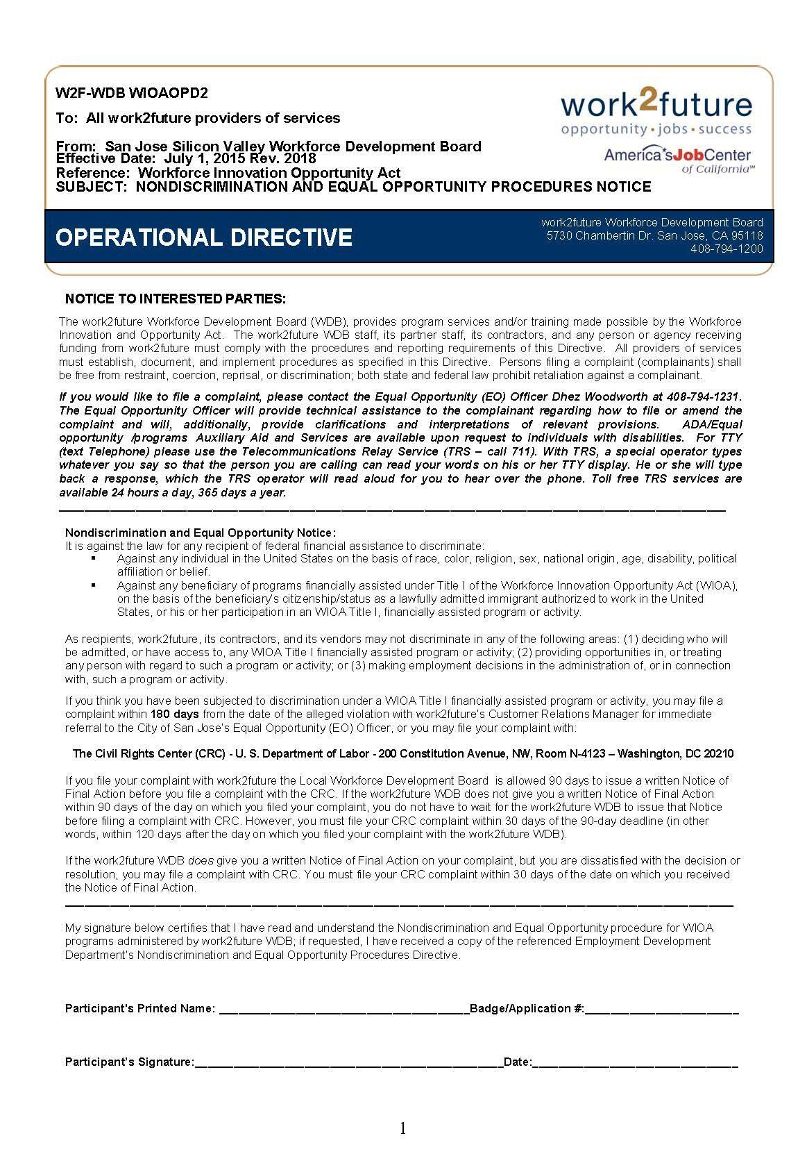 Procedure | NonDiscrimination+EO [rev 2018]