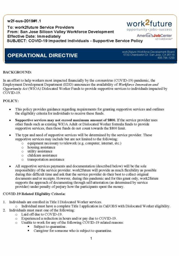Policy | COVID-19 Supportive Service [2020]