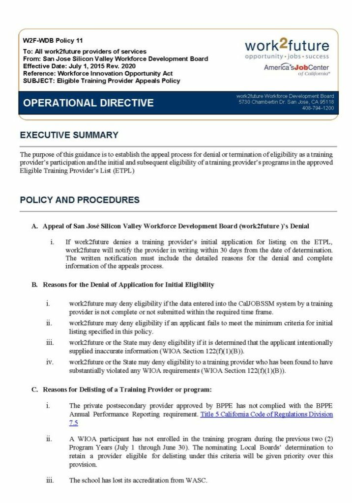 Policy | ETPL Appeals [rev 2020]