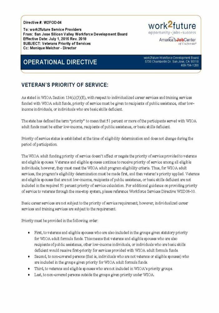 Chính sách | Mức độ ưu tiên của các dịch vụ dành cho cựu chiến binh [rev 2018]