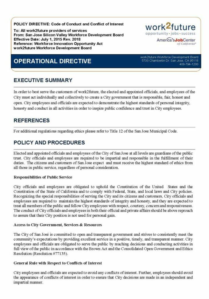 Política + Procedimiento | Código de conducta y conflicto de intereses [rev 2019]