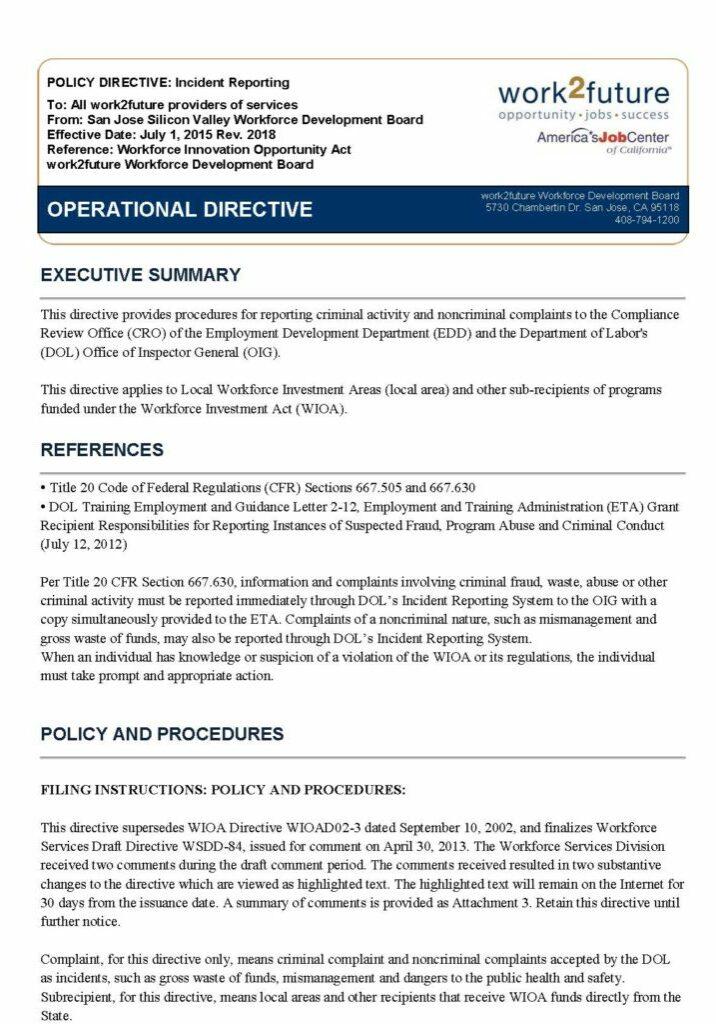 Chính sách + Thủ tục | Báo cáo sự cố [rev 2018]