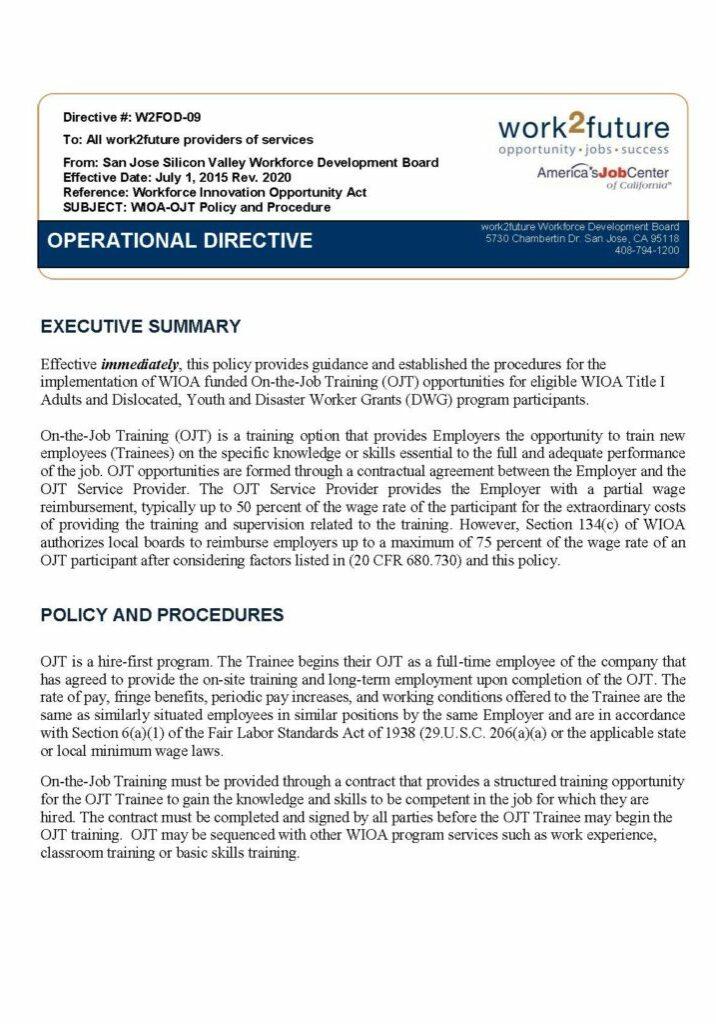 Policy+Procedure | On The Job Training [rev 2020]