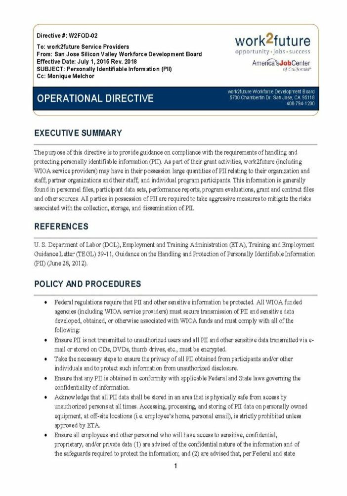 Policy+Procedure | Personally Identifiable Information (PII) [rev 2018]