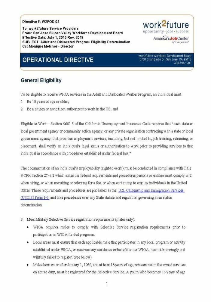Hướng dẫn thủ tục | Xác định tính đủ điều kiện dành cho người lớn / DW [rev 2018]