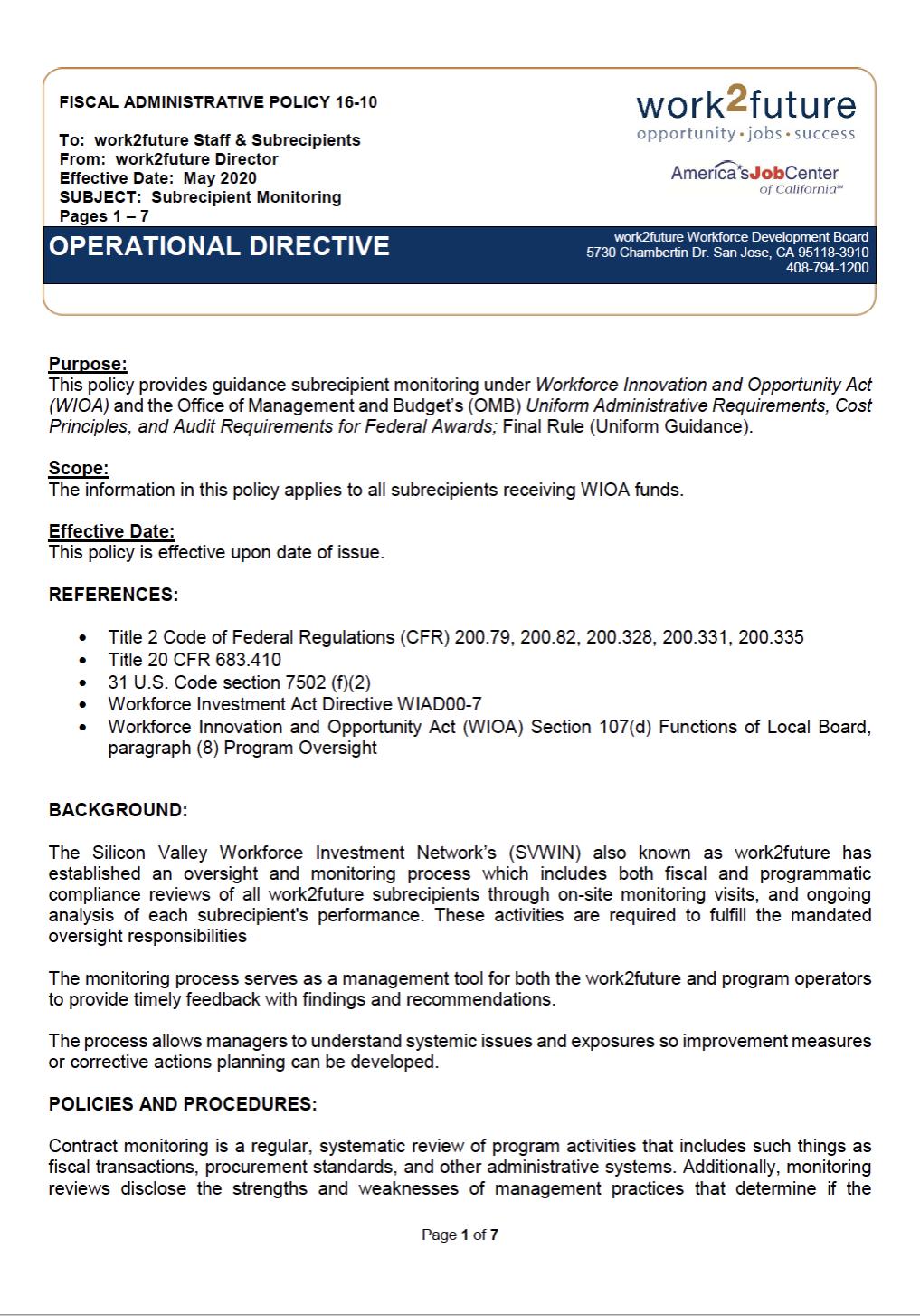 Subrecipient Monitoring | Policy+Procedure [2020]